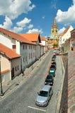Beautiful street in Sibiu. Street running through the city of Sibiu in Romania Stock Photos