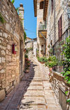 Beautiful street in Spello. Italy Stock Photos