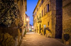 Pienza by night, Tuscany royalty free stock images