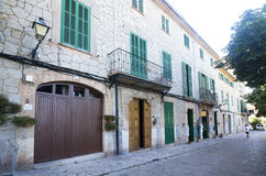 Beautiful street in Valldemossa, famous old mediterranean villag Royalty Free Stock Images
