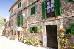 Beautiful street in Valldemossa, famous old mediterranean villag Royalty Free Stock Photo