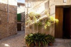 Beautiful street in Valldemossa, famous old mediterranean village of Majorca Spain. Stock Images