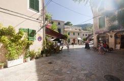 Beautiful street in Valldemossa, famous old mediterranean village of Majorca Spain. Stock Photo