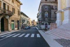 Beautiful street in Verona, Italy on a sunny day. 11.8.2017, Italy Verona royalty free stock photo