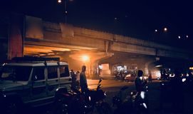 Night life in the streets of Bangalore city unique photograph. Beautiful street view of Bangalore city in India isolated unique photograph Royalty Free Stock Images