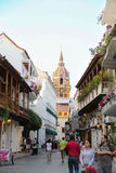 Beautiful street with a view of the cathedral of Cartagena de Indias  - Colombia Stock Photo
