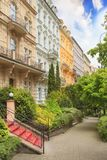Beautiful street view of hotels in Karlovy Vary, Czech Republic. On a sunny day royalty free stock photo