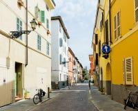 Beautiful street view in Parma. Stock Photos