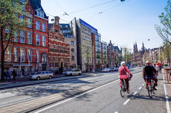 Beautiful street view of Traditional old buildings in Amsterdam, Stock Photo