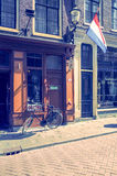 Beautiful street view of Traditional old buildings in Amsterdam, Stock Photography