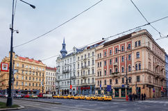 Beautiful street view of Traditional old buildings in Prague, Cz Stock Photo