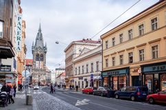 Beautiful street view of Traditional old buildings in Prague, Cz Royalty Free Stock Photos