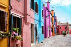Free Beautiful Street With Multicoloured Houses, Burano Island, Venice, Italy Royalty Free Stock Photo - 161217805