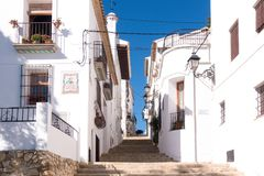 View of old town streets in Altea city, Spain. Beautiful streets of Altea city, Costa Blanca, Spain Royalty Free Stock Photography