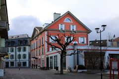 Beautiful Streets and Buildings in Nyon, Switzerland stock image