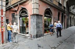 The beautiful streets in the city of Genoa called carruggi Stock Image