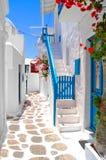 Beautiful streets of Greece. Beautiful white streets of Mykonos, Greece Stock Photos