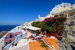 Beautiful streets of Oia village Santorini Stock Photo