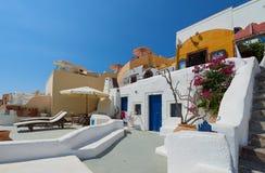 Beautiful streets of oia village Santorini Stock Images