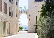 Beautiful streets of Tivat. Porto Montenegro, luxury shopping village for yachtsmen. Royalty Free Stock Photography