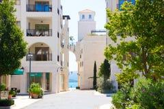 Beautiful streets of Tivat. Porto Montenegro, luxury shopping village for yachtsmen. Royalty Free Stock Photo