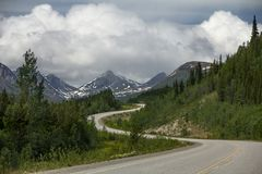 The Alaska Highway between Watson Lake to Whitehorse, Yukon, Can royalty free stock photography