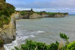 Beautiful stretch of White Cliffs along North Taranaki Bight in North Island Stock Images