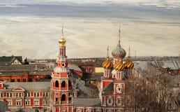 Beautiful Stroganov Church. In Nizhny Novgorod on the Volga river Royalty Free Stock Images