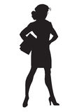 Beautiful strong businesswoman black silhouette figure Stock Images