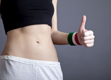 Beautiful and strong women's abs Stock Photo