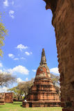 Beautiful Stu pa behind the wall. And nice blue sky background AyutthayaThailand stock image