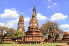 Beautiful Stu pa. And nice blue sky background ,AyutthayaThailand Royalty Free Stock Image