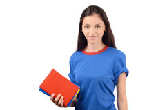 Beautiful student in blue blouse holding books. Stock Photography