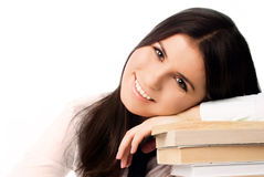 Beautiful student with books Stock Photos