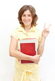 Beautiful student with books in hands Royalty Free Stock Images