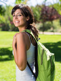 Beautiful student in campus stock photo