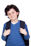 Beautiful student child with backpack Royalty Free Stock Images