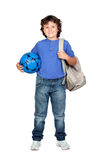 Beautiful student child with backpack royalty free stock photo