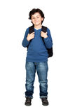 Beautiful student child with heavy backpack royalty free stock photo