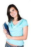Beautiful student in cyan Stock Images