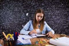 Beautiful student doing homework Royalty Free Stock Image