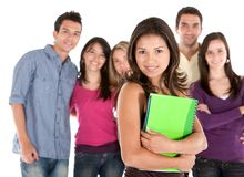 Beautiful student with friends Royalty Free Stock Photography