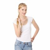 Beautiful student gesturing perfect. Royalty Free Stock Photos