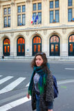 Beautiful student girl on background of the Sorbonne University in Paris. France stock images