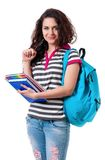 Girl with backpack Royalty Free Stock Photos