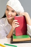Beautiful student girl with books. Stock Photos