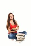 Beautiful student girl with books. Isolated on Stock Photography