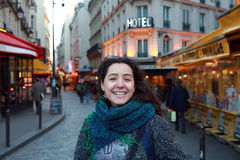 Beautiful student girl have fun in Paris Stock Images