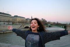 Beautiful student girl have fun in Paris Stock Photography