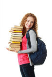 Beautiful student girl holding books Stock Images